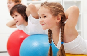 working out with children